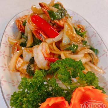 Crevettes sauté au basilic